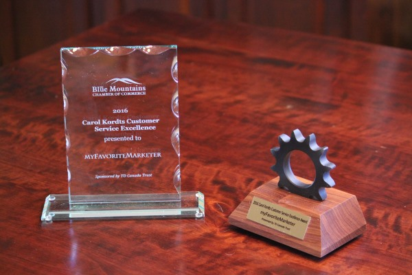 "Blue Mountains Chamber of Commerce business award for ""Customer Service Excellence"""