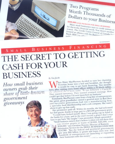 Advertorial tearsheets used in direct mail campaign