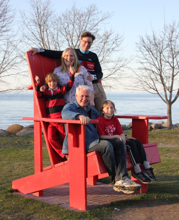 Meaford's Bodell family in one of Meaford's Big Red Chairs