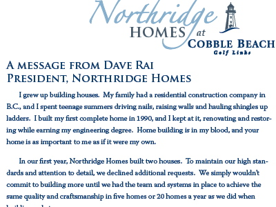 Letter from President, Northridge Homes