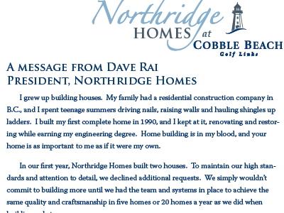 Letter from President, Northridge Homes