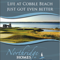 Marketing materials for Northridge Homes at Cobble Beach include brochure, ads