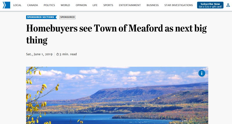 Sponsored content native advertising sample - Meaford, Toronto Star